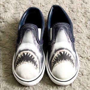 Vans toddler boy Shark slip-ons shoes size 10